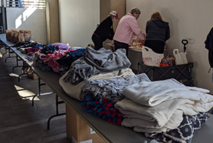 The Lighthouse Church clothing distribution.